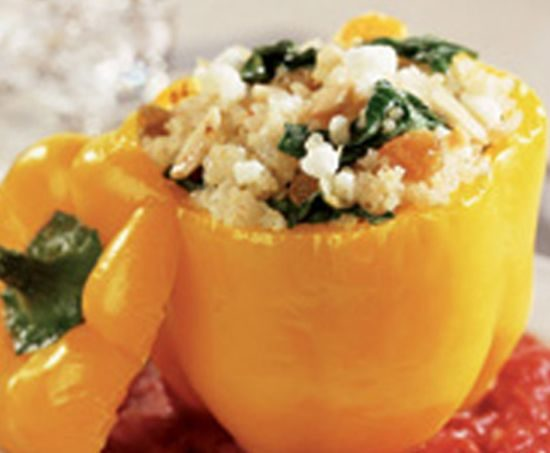 Stuffed yellow bell peppers